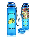 COSCOD Motivational Water Bottle with Time Marker Tracker, Funny HP Fans Gift, BPA Free Loop Top Radian Tritan Shaker Bottle, 32Oz, for Fitness and Outdoor Sports, Leakproof and Durable