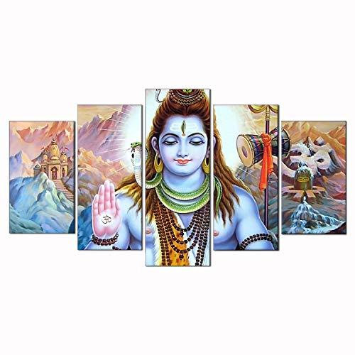 Toopia 5 PCS HD Canvas Printed Wall Art Poster Artwork – Hindu God Lord Parvati Shiva Poster Painting – Home Decor Pictures 12x20inchx2pcs, 12x28inchx2pcs, 12x32inchx1pc Wooden Frame