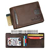 Men's Wallet Genuine Leather Minimalist Front Pocket Slim Bifold Thin RFID Blocking Wallets for Men with 2 Easy Access Pockets – Made From Full Grain Leather
