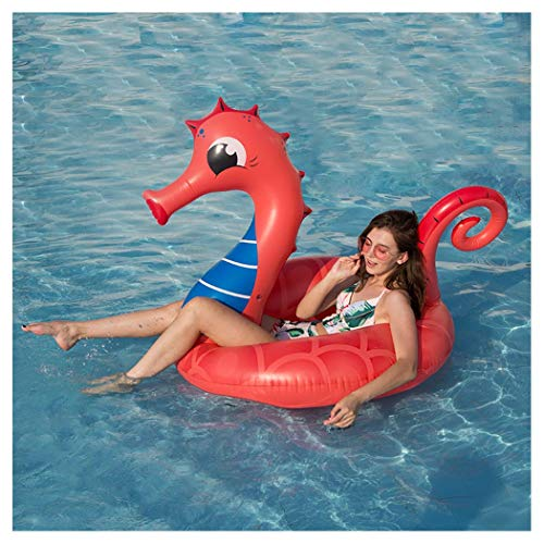 WYHDX Inflatable Pool Float Tube Red Seahorse Swim Ring, Funny Swimming Pool Lounger Tube with Rapid Valves Floaties for Adults Pool Party Decorations, Inner Ring 15.7in, Outer Ring 47.2in -