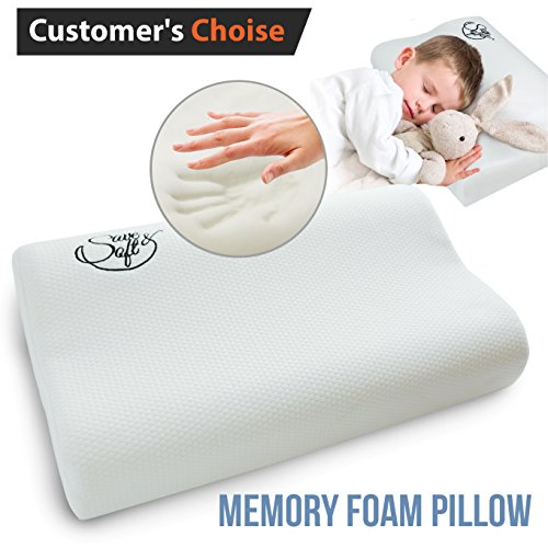 Ergonomic Neck (Ergonomic Memory Foam Pillow for Kids - Prevents Back and Neck Pain + FREE Washable Cover - for Back Stomach and Side Sleepers)