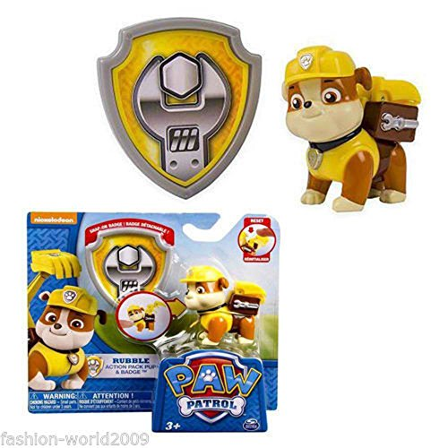 Paw Patrol Action Pack Pup & Badge Shield Dog Backpack Projectile Toy - Rubble