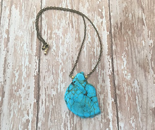 Short Freeform Turquoise Gemstone Pendant Necklace with Silver Plated, Gold Plated or Antique Bronze Chain