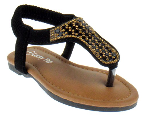 Flat Rhinestone Pull - Lucky Top Owen 1A Toddler Rhinestone Glitter Gladiator Sandals Black 8