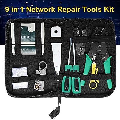 Pro 9//1 Network Tool Kit Ethernet LAN Cable Tester Crimper f RJ45//11//12 Cat5//5e