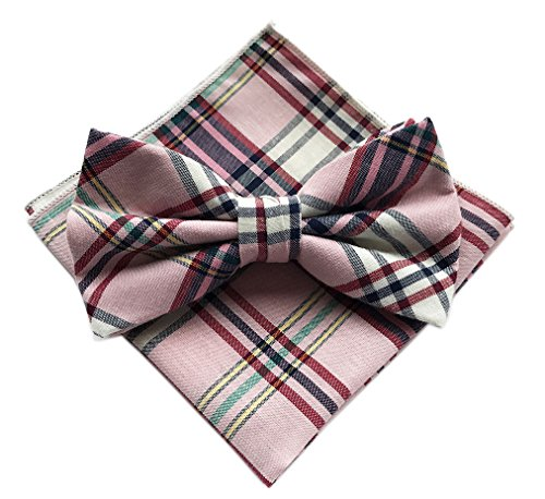 Elfeves Men's Wine Pink White Green Yellow Bow Ties Accessory Set Great Fashion (Pink Plaid Green And)