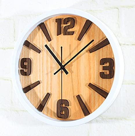 PinWei_ Reloj digital simple 3D textura madera natural,Grano de madera de la caja blanca: Amazon.es: Hogar