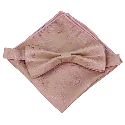 Various Paisleys Mens Silk Bowtie and Pocket Square Set (Rose - Bow Gold Rose