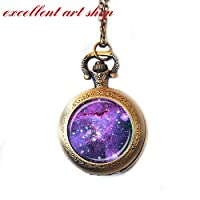 Periwinkle Nebula Pocket Watch Necklace Periwinkle Lavender Blue Astronomy Watch Necklace Star Pendant Science Watch Jewelry