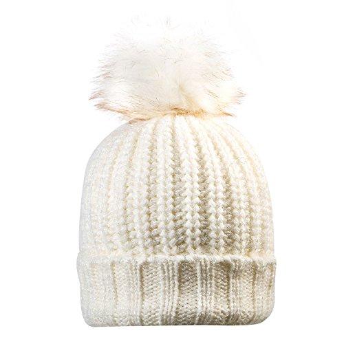 Warm Knit Fleece Lining Hat Family Crochet Ski Cap (white) (Crochet Ski Hat)