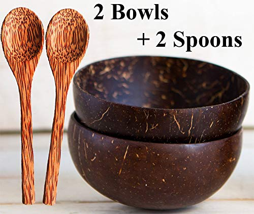 (Natural Smoothie Coconut Bowls and Spoons (set of 2) - Polished with Coconut Oil, Durable, Lightweight, Useful, Large Wooden Serving Bowl for Salads, Breakfast, Decoration, Vegan Organic Friendly)