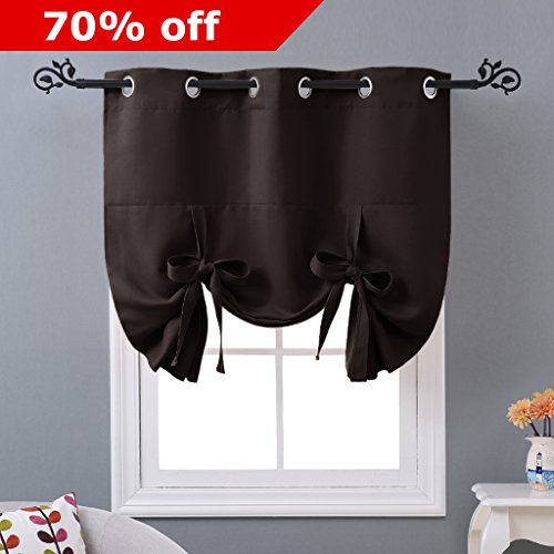 Balloon Curtain Panel for Door - Tailored Tie Up Shade Blackout Blind by NICETOWN (Grommet Top Panel, 46