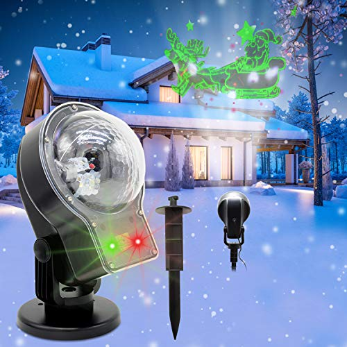 Yocuby Snowfall Laser Projector Lights, Outdoor Red Green Laser Landscape Projection LED Lamp with Moving Elk Santa Claus Animation,Decorations for Garden Xmas Christmas Remote(Laser Snowfall 3-in-1) ()