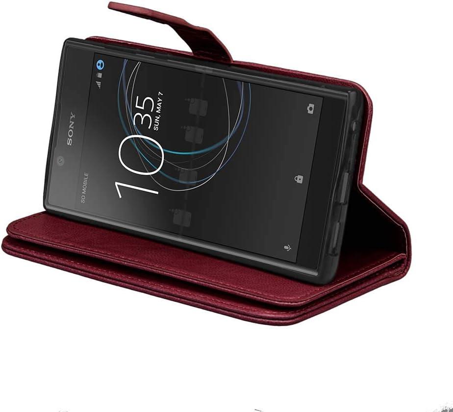 DENDICO Coque Sony Xperia L1 Flip Portefeuille Cover en Cuir Ultra-Mince Anti-Choc Etui avec 9 emplacements pour Cartes pour Sony Xperia L1 Noir