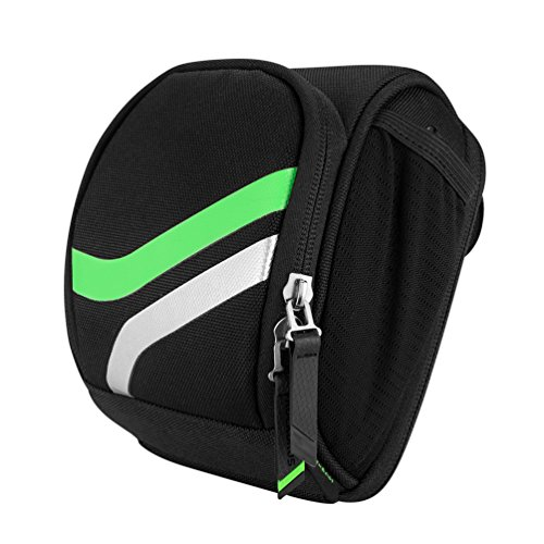 (RockBros Bike Handlebar Bag Bicycle Front Bag Multifunction Cycling Travel Shoulder Pack Pannier with Rain Cover (Black Green))