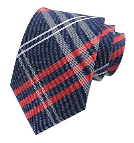 Men Boys Navy Blue Check Red White Slim Striped Tie Long Regular Wedding Necktie