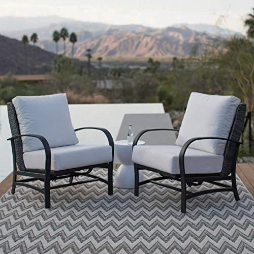 Patio Rocker Lounge Chairs Set. Small, 2 Piece, Resin Wicker With Steel Metal Furniture Kit For Fire Pit, Porch, Deck, Lawn, Pool, Garden, Balcony, Seating. Outdoor Stationary Rocking Chairs, Cushions