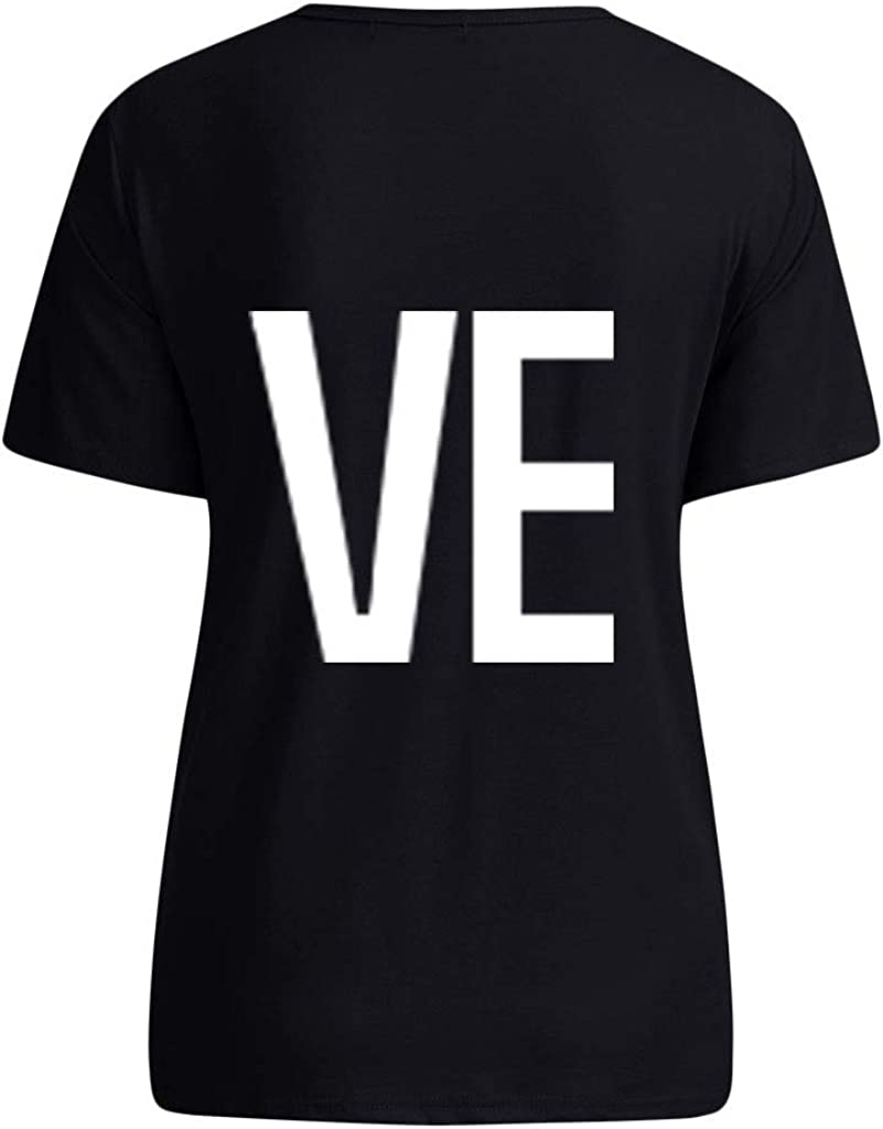 Men Casual Valentines Day T-Shirt Chanyuhui Short Sleeve O-Neck Letter Print Soft Tee Stylish Shirts Tops for Lovers