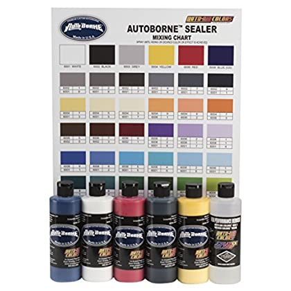 Image of Airbrush Sets Auto Air Colors AutoBorne Sealer Primary Set with Color Mixing Chart, 8oz.