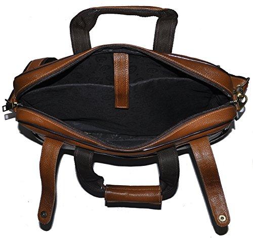 laveri auténtica maletín portátil Messenger de piel cruzado bolso bandolera 422 canela