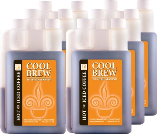 Cool Brew Fresh Coffee Concentrate - Toasted Almond 6x500ml- Make Iced Coffee or Hot Coffee - Enough for 100 drinks by CoolBrew