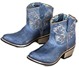 Laredo Womens Navy Sapphyre Leather Cowboy Boots 6in Shortie 6.5 M