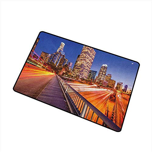 Night Welcome Doormat USA Downtown City Skyline Over The Highway Los Angeles California Travel Destination All Season Universal 24