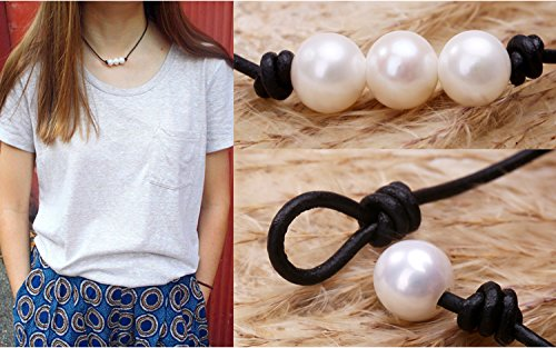 POTESSA Handmade Genuine Leather Knotted White Pearl Beaded Necklace for Girls 18'' by POTESSA (Image #1)