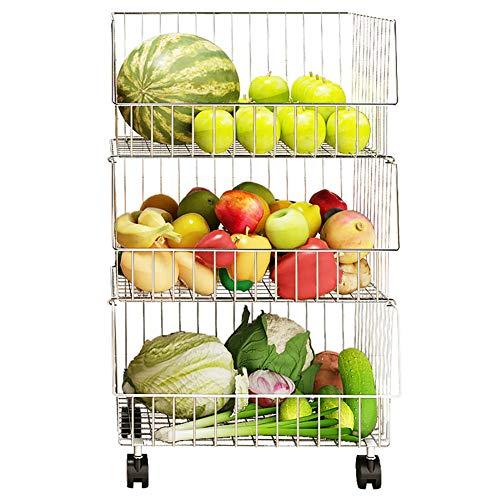 kitchen cart Carrito De Cocina, Estante para Verduras De Cocina De Acero Inoxidable, Cesta De Almacenamiento De Frutas Y...