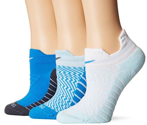 Nike Dry Cushion Low Womens Training Socks 3 Pack (White/Blue, Medium)