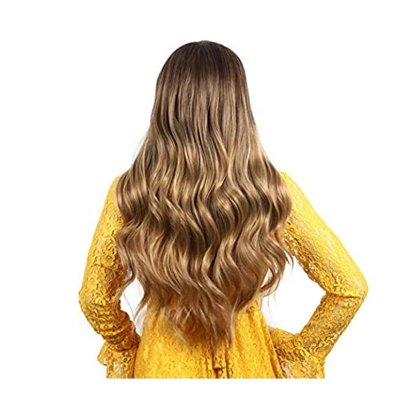 51 MXmd%2BjEL IVY HAIR Scarlet Witch Wanda Maximoff Cosplay Wigs for Women Natural Long Wavy Curly Wig Dark Roots Ombre Blonde Wig…