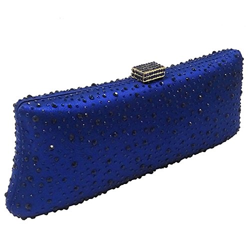 Fashion Bag Bag DarkBlue Dinner Evening Hot Clutch Chain Rhinestone Handbag Bag Diamond Bag Bridal Ladies Banquet RCaEqUww
