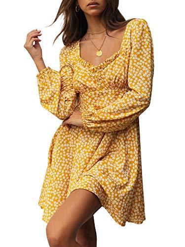 (Yobecho Womens Summer Ruffle Sleeve Sweetheart Neckline Printing Dress (Small,)