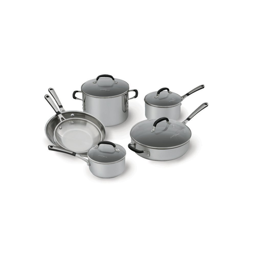 Simply Calphalon 1757697 Stainless Steel 10 piece Cookware Set, Silver