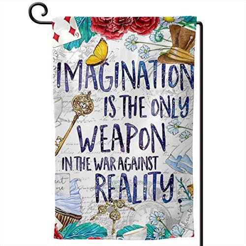 Qayou Alice in Wonderland - Imagination Welcome Garden Flag Garden Yard Flower Decorations Double Printing Garden Flags 12 X 18 Inch