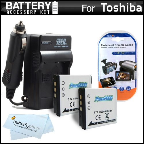2 Pack Battery And Charger Kit For Toshiba Camileo BW10 Waterproof HD Video Camera Includes 2 Extended Replacement (900Mah) PX1686 Batteries + Ac/Dc Travel Charger + LCD Screen Protectors + MicroFiber Cleaning Cloth by ButterflyPhoto