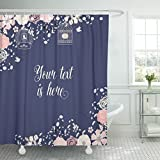 Navy and Pink Shower Curtain TOMPOP Shower Curtain Pink Navy Blue and Rose Blush Flower Bird Cage Waterproof Polyester Fabric 60 x 72 Inches Set with Hooks