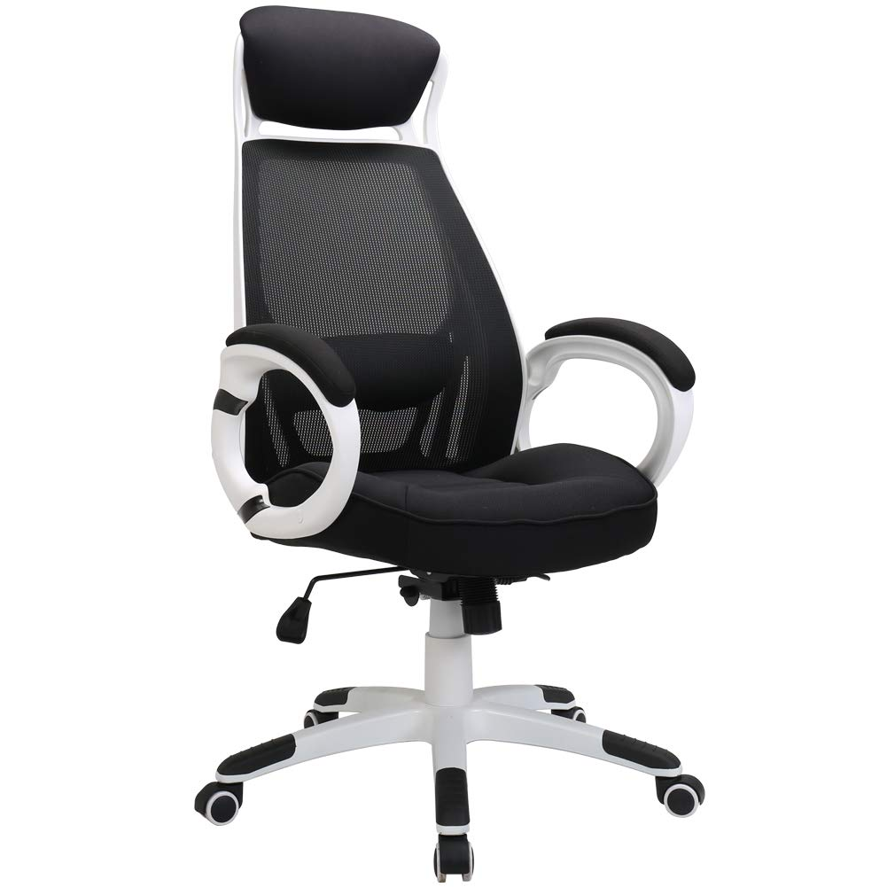 TKEY Ergonomic High Back Mesh Office Chair with Armrest Lumbar Support Headrest Recliner Swivel Task Desk Chair Computer Chair Guest Chairs Reception Chairs (White)