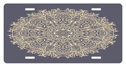 Mandala License Plate by Lunarable, Asian Style Floral Mystery Deep Active Love Sun Moon Sign Boho Art Design, High Gloss Aluminum Novelty Plate, 5.88 L X 11.88 W Inches, Cadet Blue (Moon Florals Art)