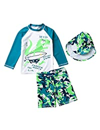 Happy Cherry Baby Boys Swimwear Set Long Sleeve Swimsuit UPF 50+ Rash Guard Set