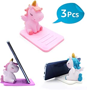 3 Pack Unicorn Phone Holder - Lovely Animal Desktop Cell Phone Stand - Adjustable Stand - Creative Cartoon Multi-Function Desk Phone Stand - Accessories Desk - Smartphone Dock - Unicorn Gift for Girl