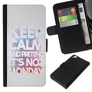 KLONGSHOP // Tirón de la caja Cartera de cuero con ranuras para tarjetas - Mantenga Trabajo Oficina de Trabajo Lunes divertido texto - HTC Desire 820 //