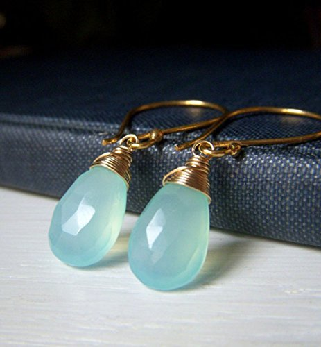 Aqua Chalcedony Earrings - Gold Filled and Vermeil Briolette Drop - Natural Gemstone Jewelry