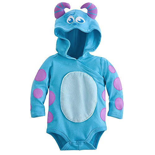 Disney Sulley Monsters Inc. Baby Halloween Costume Bodysuit Hooded Size 3-6 Months -