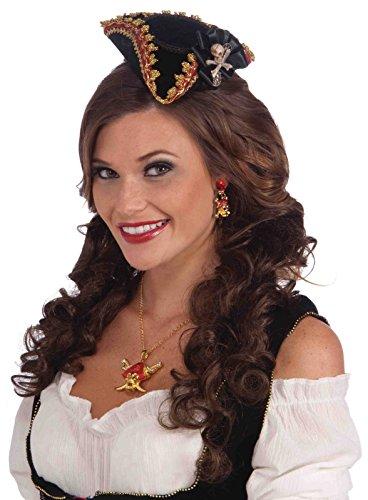 Forum Novelties Bucc.Beauty Mini Hat-Skull, Black/Gold, -