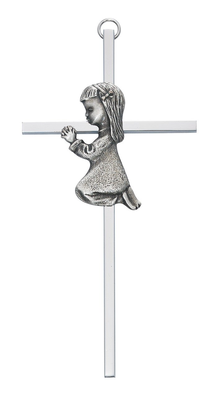 6 SILVER GIRL WALL CROSS BABY INFANT CHRISTENING BAPTISM SHOWER Mcvan