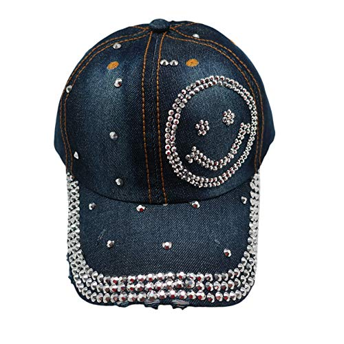 Forest & Twelfth Fashion Bling Baseball Cap Hat - Embellished w/Crystal Rhinestones and Faux Gemstones (Smiley Face)