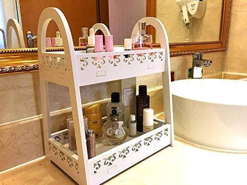 FunCute Makeup Organizer Waterproof Large Capacity Multi-Functions Bathroom Organizer Countertop with 2 Tiers, Durable Eco-Green PVC Material EU Style White