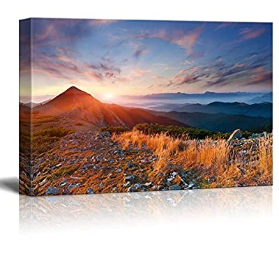 Beautiful Scenery Landscape Colorful Autumn View in The Mountains at Sunrise - Canvas Art Wall Art - 32