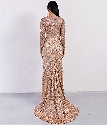 Maxi Rose Pattern Dress Long LinlinQ Women Neck Bling Glitter Gold Sleeve O Elegant wqOag6P8